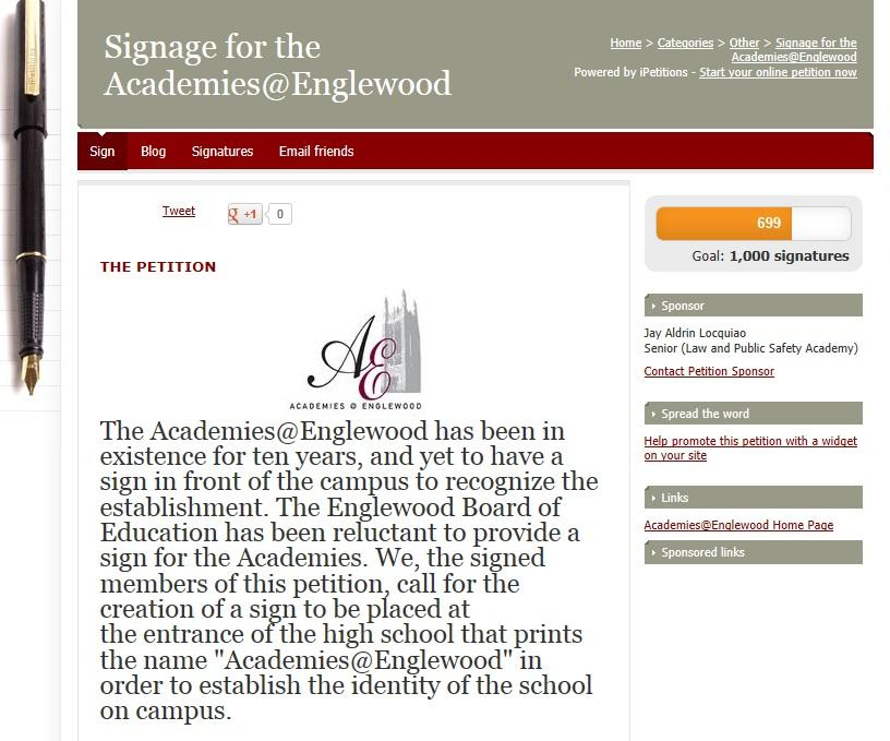 Academies @ Englewood Sign Petition