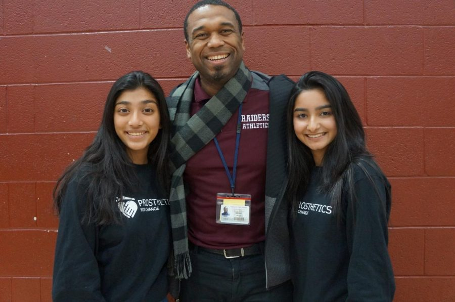 Founders Soubia and Ashita with Principal Bowie.