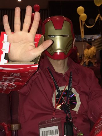 Pre-Engineering Program Manager Mr. Sherry dressed up as Iron Man